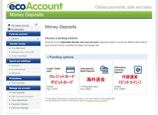 eco0013 - ecoPayz(エコペイズ)の入金方法、手数料、限度額の解説