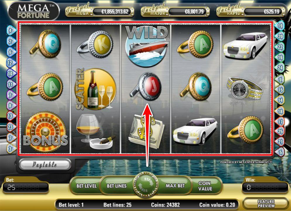 Mega Fortune Slot Images CasinoTop - ベラジョンカジノのスロットの遊び方。ビデオスロットのジャックポット攻略法も紹介します